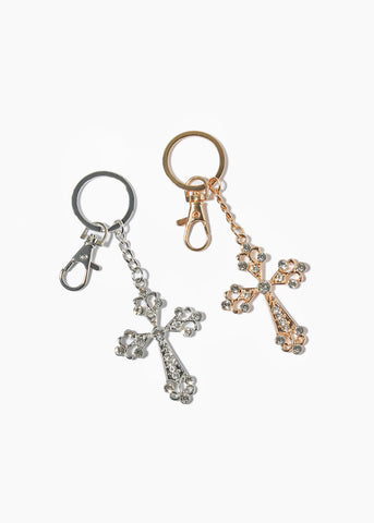 Metal Rhinestone Cross Key Chain