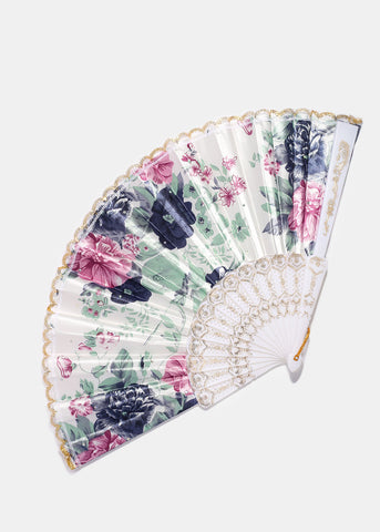 Rhinestone Accent Floral Fan