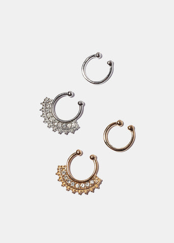 2 Piece Fan Gemstone Septum Ring Set