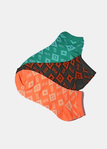 3 Pair Tribal-Inspired Ankle Socks