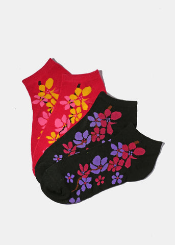 3 Pair Flower Print Ankle Socks