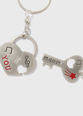 2 Piece Heart Lock & Key Keychains