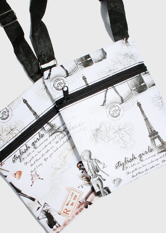 Eiffel Tower Print Crossbody Bag