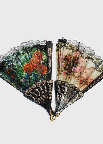 Black Lace Trim Floral Fan