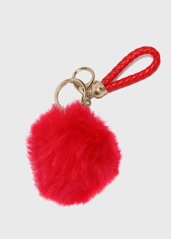 Leather Cord Pom Keychain