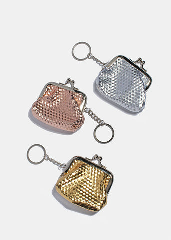 Metallic Coin Purse Keychain