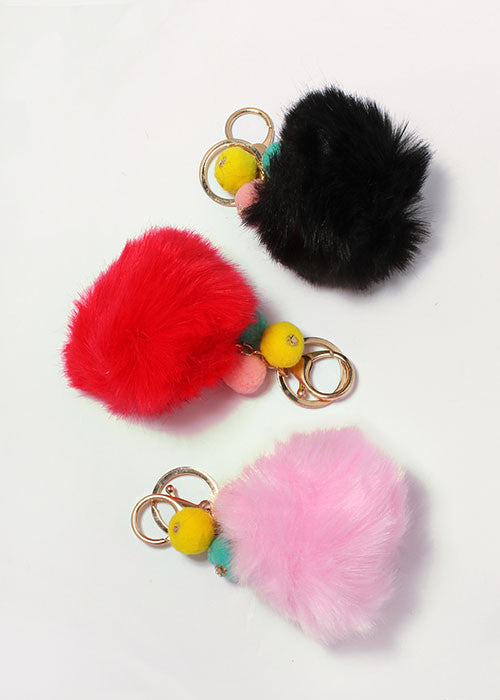 Multi-Color Pom-Pom Keychain