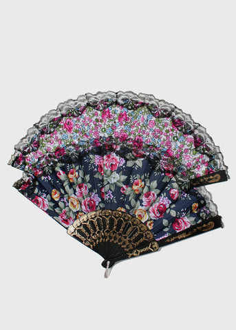 Black Lace Flower Print Fan