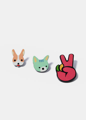 3 Piece Animal & Peace Sign Pins
