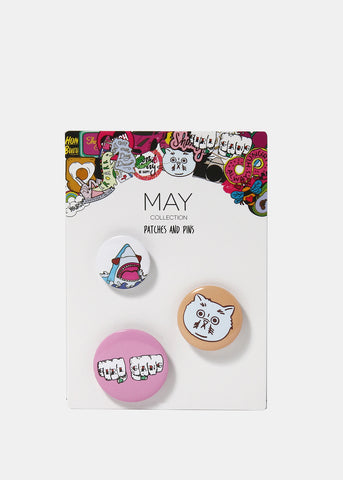 3 Piece Shark & Cat Button Set