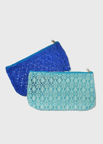 Crochet Overlay Cosmetic Pouch