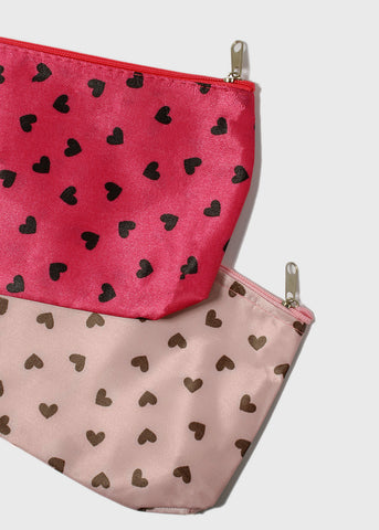 Heart Print Cosmetic Pouch