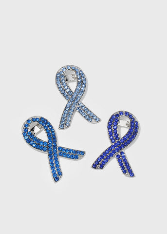 Blue Rhinestone Ribbon Brooch