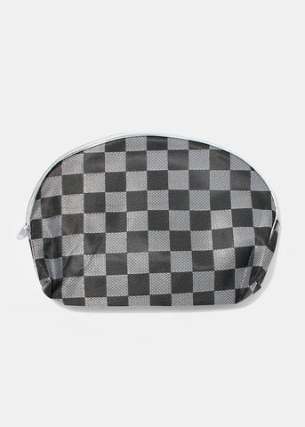 Checkered Cosmetic Pouch