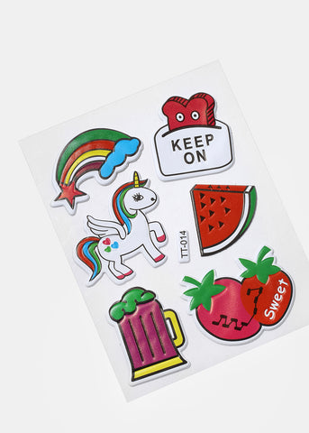6 Piece Unicorn Fruit Sticker Patches