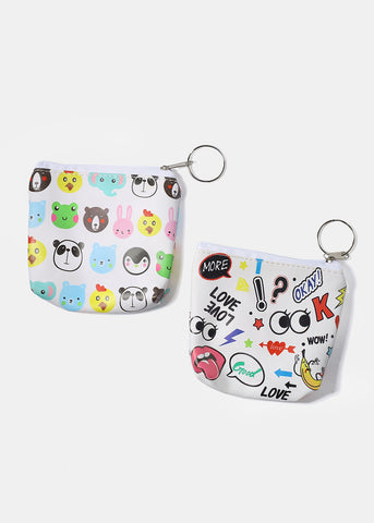 Multi Print Zippered Coin Pouch