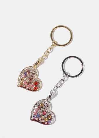 Heart Gemstone Keychain