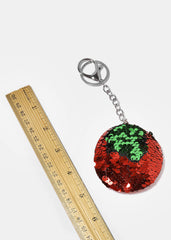 Red Sequin Heart & Circle Keychains