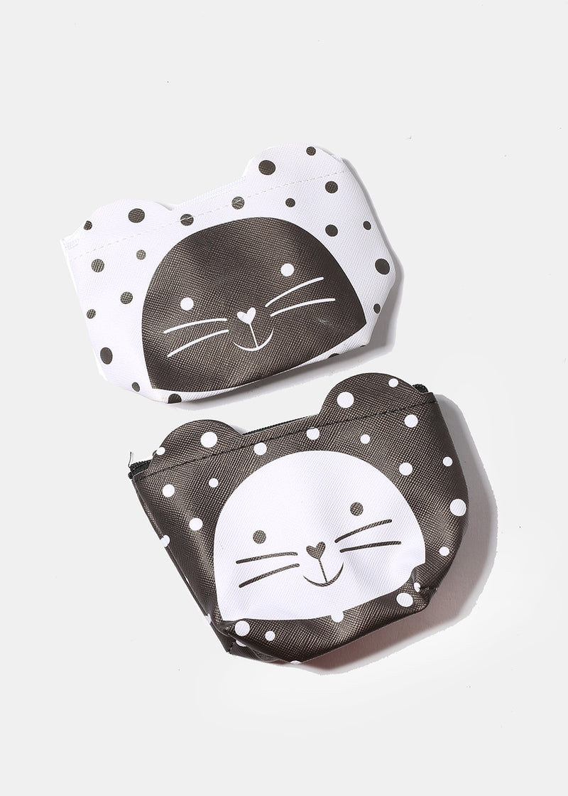 Kitten Polka Dot Coin Purse
