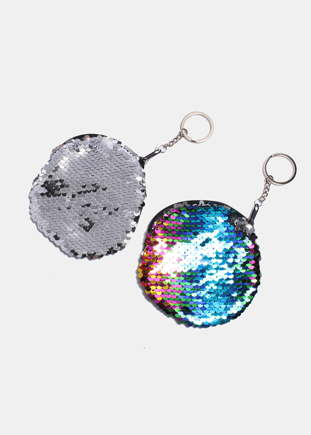 Round Sequin Zippered Coin Purse