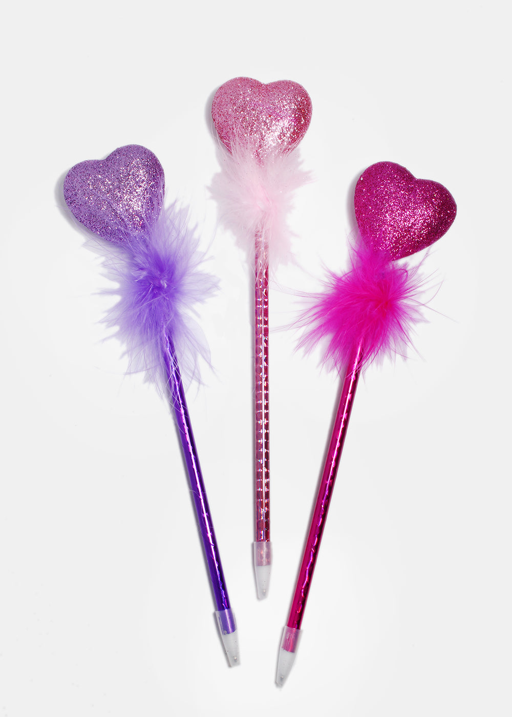 Glitter Heart Feather Pen