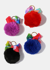 Multi-Color Bow Pom-Pom Keychain