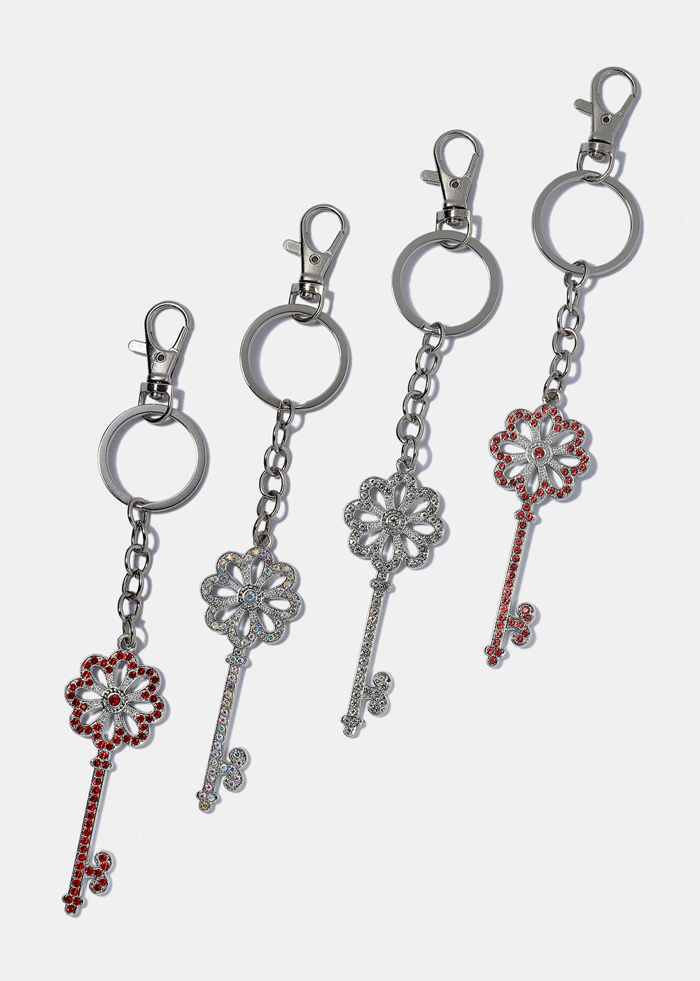 Color Rhinestone Flower Key Keychain