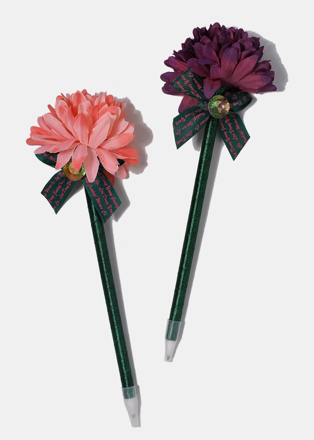 Flower Gemstone Bow Pen