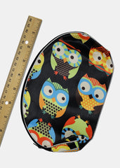 Large Owl Print Cosmetic Pouch