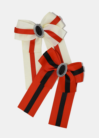Striped Bow Pin