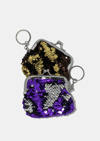 Small Sequin Coin Purse Keychain
