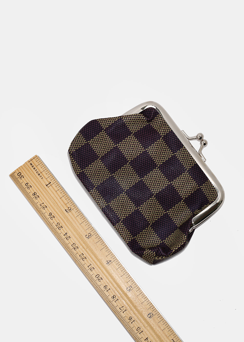 Checkered Kiss-Lock Coin Purse