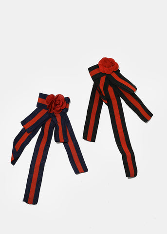 Rose Striped Bow Pin