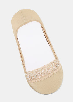 Beige Lace Trim No-Show Socks
