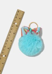 Rainbow Striped Bow Pom-Pom Keychain