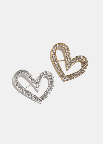 Rhinestone Heart Pin