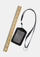 Black Faux Leather ID Lanyard