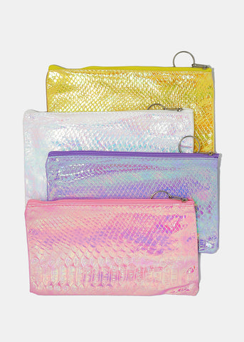 Holographic Snakeskin Cosmetic Pouch