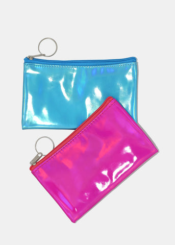 Zippered Holographic Coin Pouch