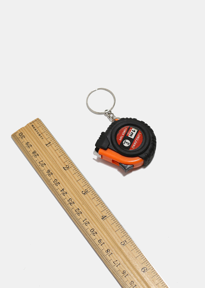 Mini Black Tape Measure Keychain