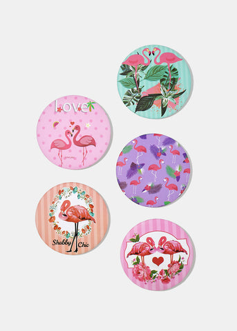 Flamingo Design Pocket Mirrors