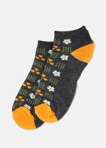 Flower & Heart Print Ankle Socks- Dark Grey