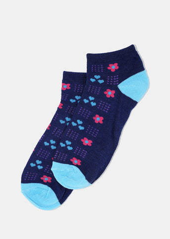 Flower & Heart Print Ankle Socks- Navy