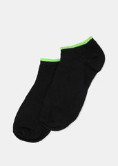 Black & Bright Color Trim Ankle Socks- Green