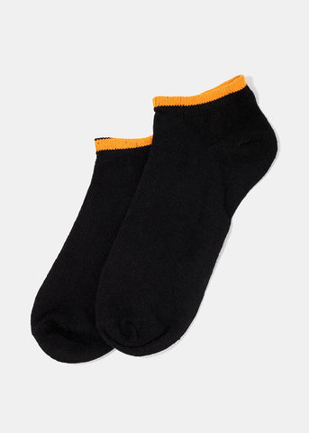 Black & Bright Color Trim Ankle Socks- Orange