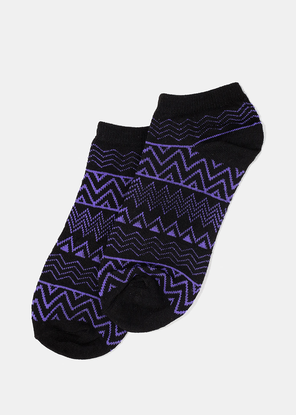 Tribal Print Ankle Socks- Black