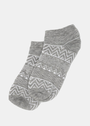 Tribal Print Ankle Socks- Light Grey