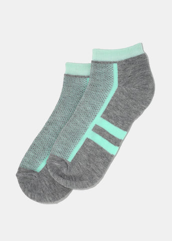 Double Stripe Ankle Socks- Light Grey