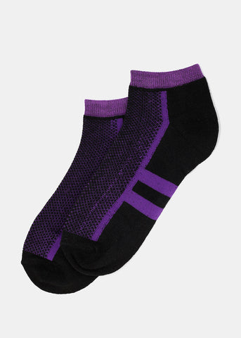 Double Stripe Ankle Socks- Black