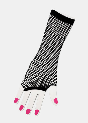 Black Fishnet Glove Arm Warmers